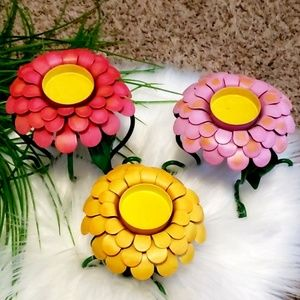 3 PC. METAL VIBRANT Wild Flower CANDLE HOLDER